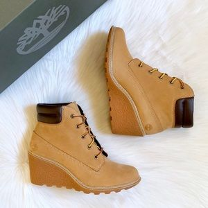 "Timberland Wheat Amston 6"" Wedge Booties"